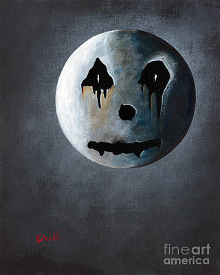 Man In The Moon Painting - What It's Like Without You - Gothic By Shawna Erback by Shawna Erback
