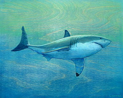 Shark Painting - What Lurks Below by Nathan Ledyard