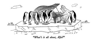 Penguin Drawing - What's It All by Bill Woodman