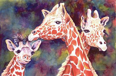 Painting - What's Up Dad - Giraffes by Roxanne Tobaison