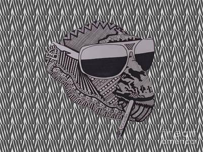 Cute Monkey Drawing - Whatssup Dawg Zebra by Karen Larter
