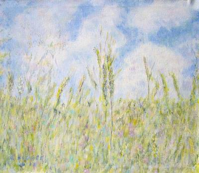 Painting - Wheat Field And Wildflowers by Glenda Crigger