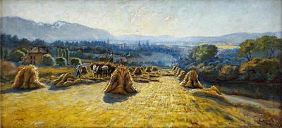 Wheat Harvest In Salt Lake 1911 Art Print by MotionAge Designs