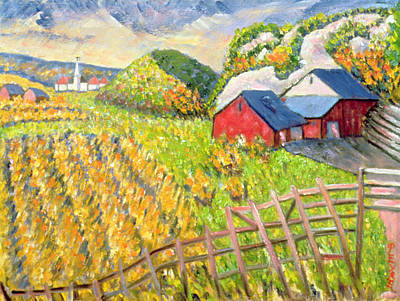 Contemporary Barn Landscape Painting - Wheat Harvest Kamouraska Quebec by Patricia Eyre