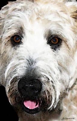 Wheaten Terrier - Happy Dog Art Print by Sharon Cummings