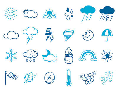 Wheater Icon Set Art Print by Eastnine Inc.
