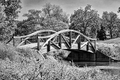Wheaton Northside Park Bridge Black And White Art Print by Christopher Arndt