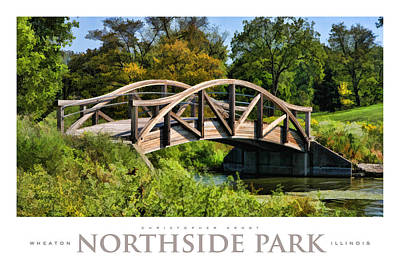 Wheaton Northside Park Bridge Poster Art Print by Christopher Arndt