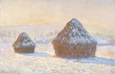 Wheatstacks, Snow Effect, Morning Meules Art Print by Litz Collection