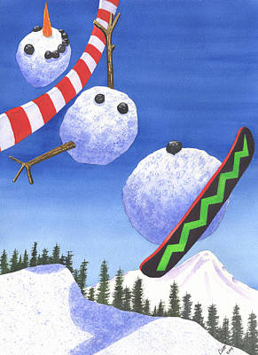 Snowboard Painting - Whee by Catherine G McElroy