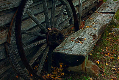Wheel And Bench Art Print by Mike Flynn