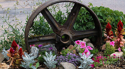Photograph - Wheel And Flowers by Steven Parker