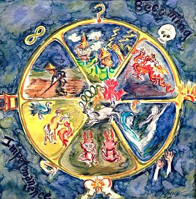 Buddhist Painting - Wheel by Christine Kfoury