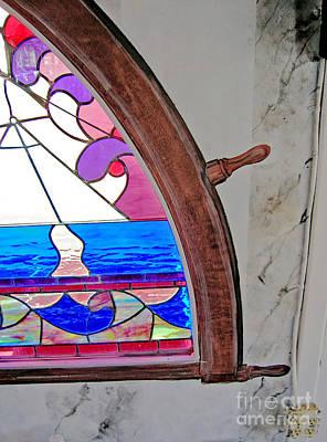 Painting - Memphis Riverboats  Rear Window Wheel Around Stern Window by Lizi Beard-Ward