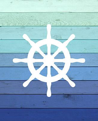 Ship Anchor Painting - Wheel Ombre Wood by Tamara Robinson