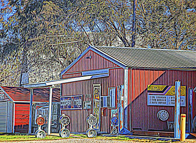 Wheel Sales Barn Art Print by Linda Phelps