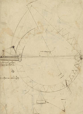Pen Drawing - Wheel Sketch Of Drawing In Folio 956 by Leonardo Da Vinci