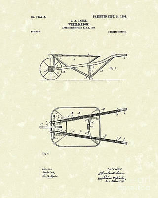 Drawing - Wheelbarrow 1903 Patent Art by Prior Art Design