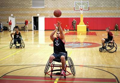 Indoor Photograph - Wheelchair Basketball by Us Air Force/mark Fayloga