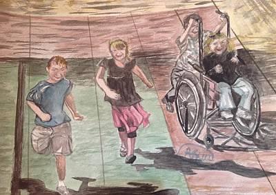Wheelchair Painting - Wheelchair Race by Asuncion Purnell