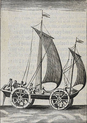 Wheeled Sail Boat Art Print by British Library
