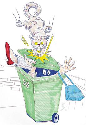 Drawing - Wheelie Bin Cat Cartoon by Mike Jory