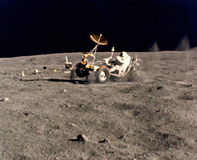 Space Exploration Photograph - Wheelie On The Moon by Underwood Archives