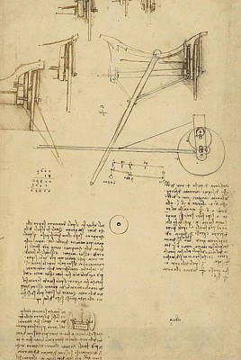 Plans Drawing - Wheels And Pins System Conceived For Making Smooth Motion Of Carts From Atlantic Codex by Leonardo Da Vinci