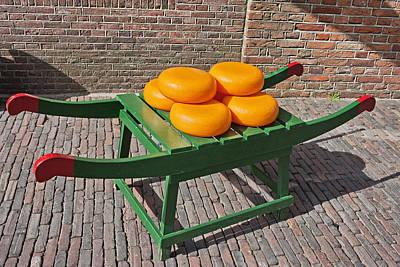 Wooden Platform Photograph - Wheels Of Dutch Gouda Cheese by Artur Bogacki