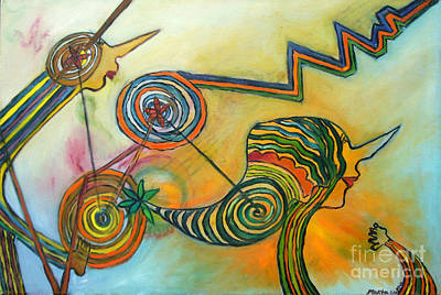 Art Print featuring the painting Wheels Of Time by Mukta Gupta