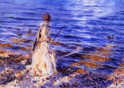 When A Woman Goes Fishing Print by Georgiana Romanovna