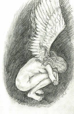 Weeping Drawing - When Angels Weep by Lina Zolotushko