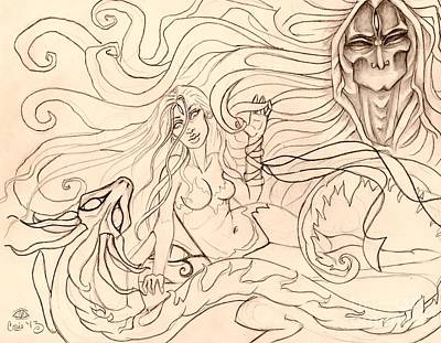Horus Drawing - When Demons And Dragons Clash Sketch by Coriander  Shea