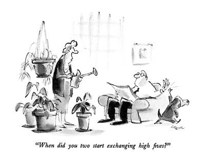 When Did You Two Start Exchanging High Fives? Art Print by Lee Lorenz