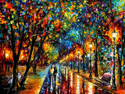 Raining Painting - When Dreams Come True - Palette Knlfe Landscape Park Oil Painting On Canvas By Leonid Afremov by Leonid Afremov