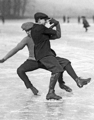 Winter In The City Photograph - When Ice Skaters Collide by Underwood Archives