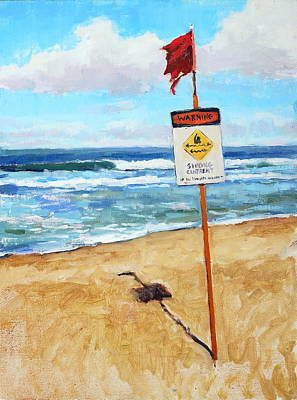 Surfing Art Painting - When In Doubt Don't Go Out by Jenifer Prince