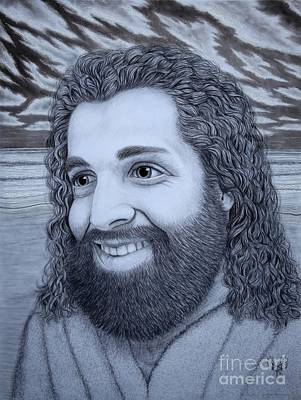 Smiling Jesus Drawing - When Jesus Thinks Of Me by Dale Crum