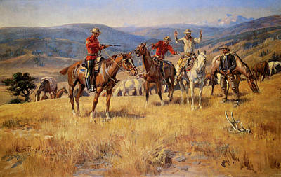 The Edge Painting - When Law Dulls The Edge Of Chance by Charles M Russell