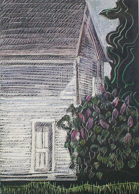 Maine Dooryard Drawing - When Lilacs Last... by Grace Keown