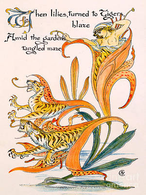 When Lilies Turned To Tiger Blaze Art Print by Walter Crane