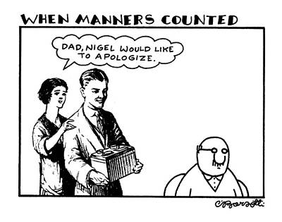 Family Car Drawing - When Manners Counted 'dad by Charles Barsotti