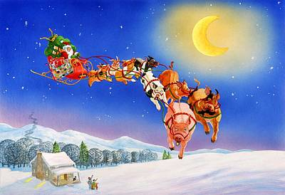 Christmas Eve Mixed Media - When Pigs Flew by Eight Little Pigs Publishing
