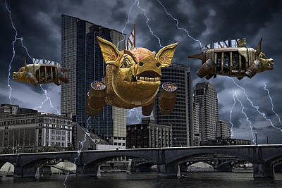 Steampunk Royalty-Free and Rights-Managed Images - When Pigs Fly by Randall Nyhof