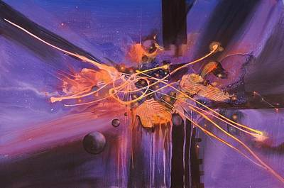 Outer Space Abstract Painting - When Planets Align by Tom Shropshire