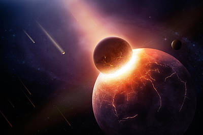 Flaming Digital Art - When Planets Collide by Johan Swanepoel
