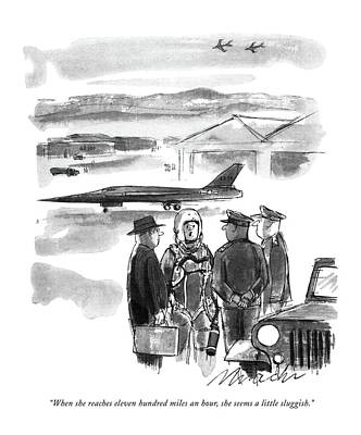 Jet Drawing - When She Reaches Eleven Hundred Miles An Hour by Joseph Mirachi