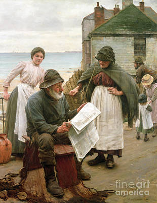 Newspaper Painting - When The Boats Are Away by Walter Langley