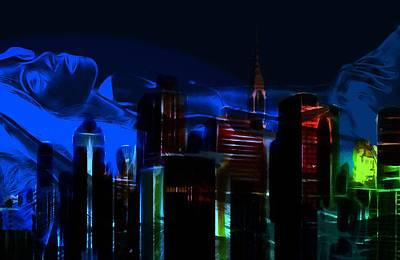 City Scape Painting - When The City Sleeps by Steve K