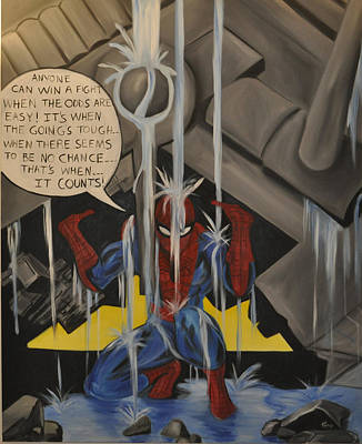 Spidey Painting - When The Going Gets Tough by Mitchell Todd
